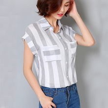 Summer Ladies Bat Sleeve Shirt Chiffon Blouse Leisure Women Tops Striped Stylish Big Size Women's Blouses Camisa Clothings Femme