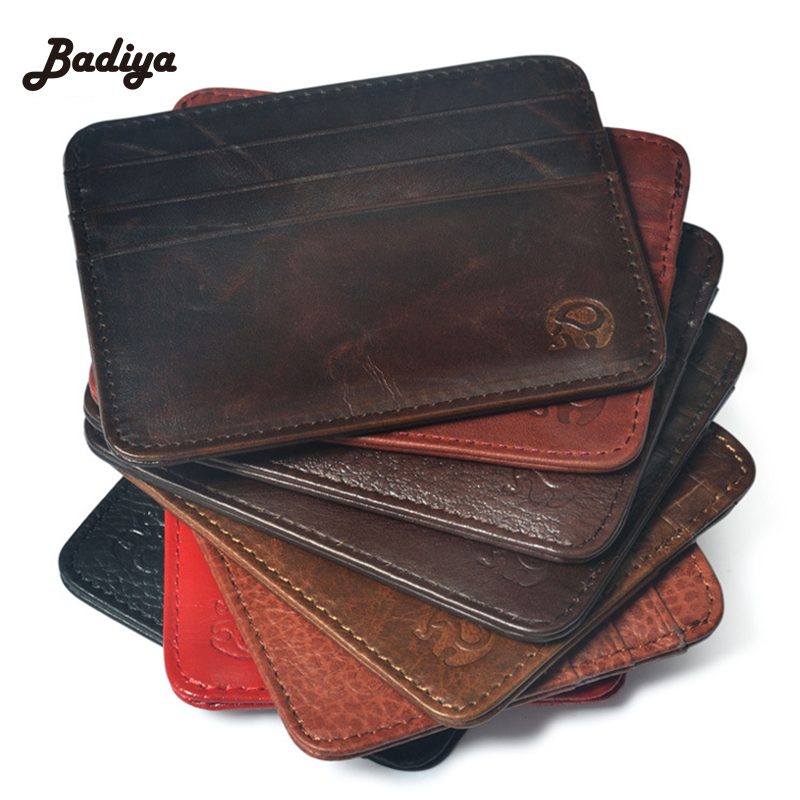 New Arrival Mini Wallets 12 Colours Ultra-thin Card Holder Mens Business Small Genuine Leather Purse Leather Card Case 6 Slots(China)