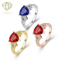 Buy Engagement Ring Online Romantic Gold/Rose-gold/White-gold Color with Red/Blue Crystal and Cubic Zircon Rings Jewellery(China)