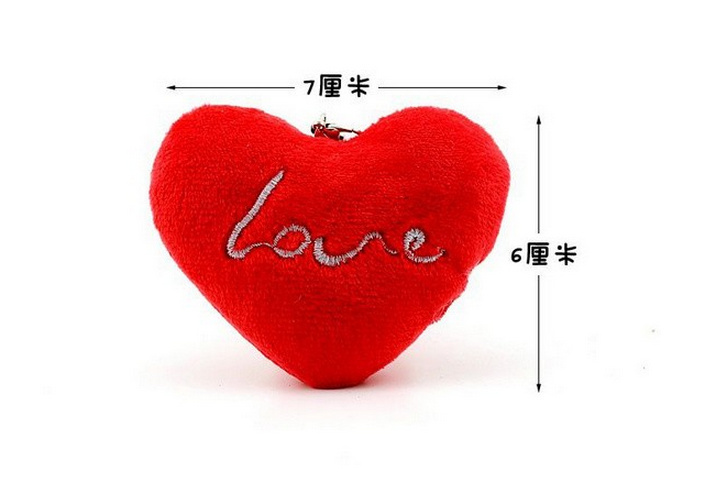 1X Super Sweet Valentine's Gift Plush Love Heart Wedding Toy Doll , bouquet Gift Toy , Mini 7CM Stuffed Heart String plush(China (Mainland))