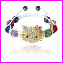 10PCS New Mixed Colors Shamballa Hello Kitty Bracelets for Children Christmas gift for kids SE317(China)