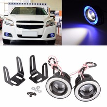 2x Car SUV Angel Eye COB Blue Halo Ring LED DRL Projector Lens Fog Driving Light White 20w Waterproof Auto Lamp