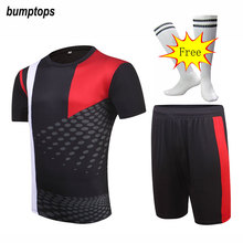FREE SOCKS Men Soccer Jerseys Team Sportswear DIY 2017 Football Kits Adult Customized Best Outdoors Breathable Training Uniform