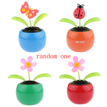 Random Type Solar Powered Dancing Toy Flowerpot Shaking Toy ABS Resin Flip Flap Kids Gift for Child Home Desk Car Decoration