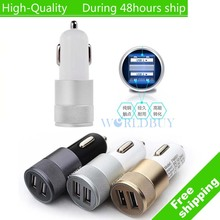 High Quality Mini Aluminum Universal 12V 2.1A Dual Usb Car Charger Adapter Cable For Mobile Cell Phones Tablet PC(China)