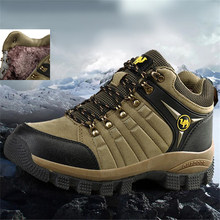 Men Snow Boots Winter Warm Leather Outdoor Hiking Shoes Men Boots Climbing Hiking Shoes Sports Camping Trekking Waterproof