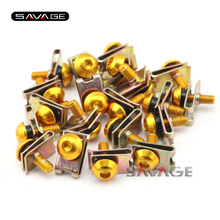 20pcs 5mm Motorcycle Motos CNC Aluminium Universal Body Fairing Bolts Spire Speed Fastener Clips Screw Nuts Set M5