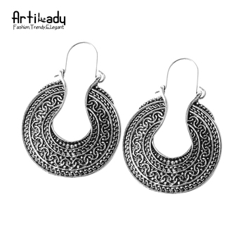 Artilady style boho boucles d'oreilles vintage antique argent bohème boucles d'oreilles déclaration pour femmes bijoux parti cadeau