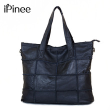 iPinee Large Cowhide Women Bag Genuine Leather Tote Patchwork Bags Designer Handbag Black Free Shipping(China)