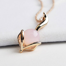 USTAR created Pink Opal fox Pendant Necklace Rose Gold color Animal Necklace For women fashion Jewelry collar Bijoux S8