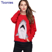 New Arrival Shark Embroidery Women Sweaters and Pullovers 2017 Winter Fasion Sweater Knitted Thick Hot Jersey Jumper Knit Top(China)