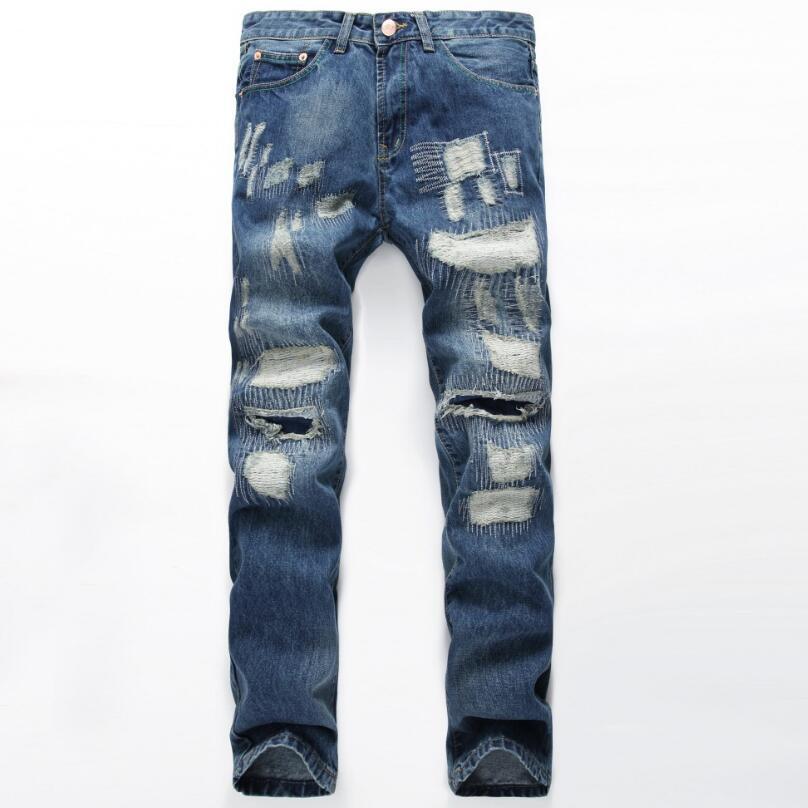 HOT Jeans Men 2017 Fashion Brand Cotton Men Jeans Luxury Mens Casual Denim Trousers Hole Zipper Slim Blue Jeans For MenОдежда и ак�е��уары<br><br><br>Aliexpress