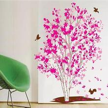 Large Pink Flower Tree Birds Wall Sticker Vinyl Art Decal Girls Bedroom Home Decor Red Maple Wall Stickers