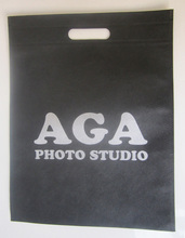 black hand bag with grey print,non woven shopping bag ,cheapest promotional bag ,includ one color print
