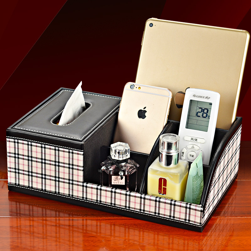 Grid leather Multifunction Tissue Box Desktop Desk Make UP Organizers iphone remote control holder cosmetics storage case(China)