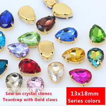 12p 18x13mm color teardrop crystal glass stone sew on rhinestone jewels gold claw shoes bags Hair/Clothing accessories DIY craft