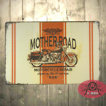 Vintage home decor Mother Road Route 66 Motorcycle Repair Tin Metal Sign C-102