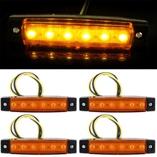 hot 4PCS 6 smd LED Car Bus Truck Trailer Lorry Side Marker Indicators Lights side Lamp 12V yellow car styling