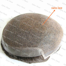 Mens Toupee Mono Top Poly Coating Swiss Lace Man Hair Piece  H045