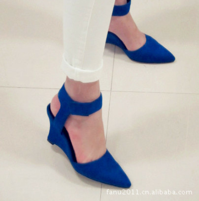 Women Wedges Fashion Brand Ankle Pointed Toe Pumps Sexy Sandal High Heels Black Blue Orange White Women Shoes Summer<br><br>Aliexpress