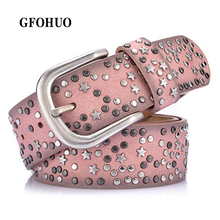 Buy New Fashion women's Rivet belts Punk rock style belt lady PU + Genuine leather Sequins Metal buckle Wide Metal rivet bead for $13.74 in AliExpress store