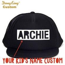 f993b90a4c24e8 DongKing Custom BLOCK LETTER Kids Adult Trucker Hat Custom Toddler Snapback  Personalized Baby Man Women Meth