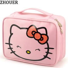 Hello Kitty Woman Cosmetic Bags Cartoon Travel Toiletry Letter Pattern Necessary Organizer Makeup Bag Storage Beauty Bag TS105(China)