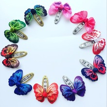 Children butterfly Ribbon Hair Bows With Clip Boutique HairClip Hairpin Hair Accessories 10 pcs /lot