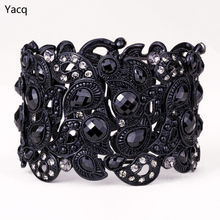 YACQ Floral Stretch Bracelet Vintage Flower Crystal Women Fashion Jewelry Gifts B10 Wholesale Dropshipping Black Gold Silver(China)