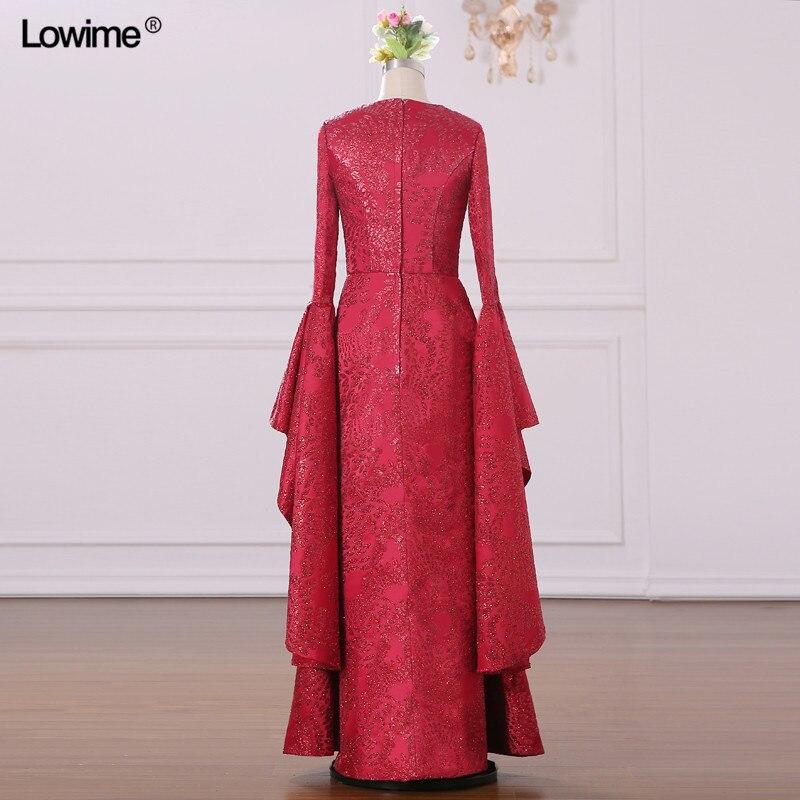 Mermaid Muslim Arabic Evening Dresses Scoop Red Custom Made Appliques Sequins Robe De Soiree Long Prom 2018 (1)