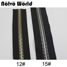 12# 15# Polished copper teeth Big zipper,#12,#15 black fabric tape zippers for DIY leather bags,clothing pants shoes making