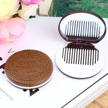 1 PCS Portable Makeup Mirror Cute Chocolate Cookie Shape Cosmetic Comb Lady Girl Newest Brand New