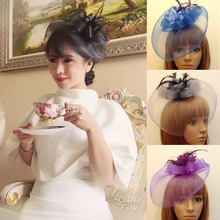 Women Feather fascinator clip wedding bridal fascinator veil hair ornament Headdress flower fancy ladies party hat headdress