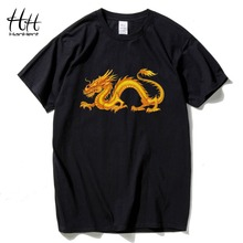 HanHent Chinese Dragon T shirts Man Cotton Men's Tee Shirt Tops Fitness Clothes 12 Zodiacs Series Tshirt Bodybuilding T-shirts(China)
