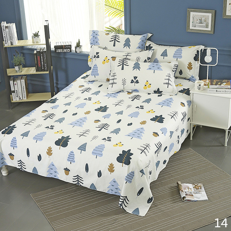 100% Cotton Modern Fashion Bed Flowers Flowers And Trees Printing Pattern 3pcs Bed Sheets Pillowcase Large Size 230x250cm 17