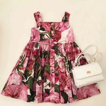 2017 Summer Flower Girls Dress 1pc Rose Girls Clothes Children's Dress Sleeveless Kids Floral Princess Dress for party/wedding