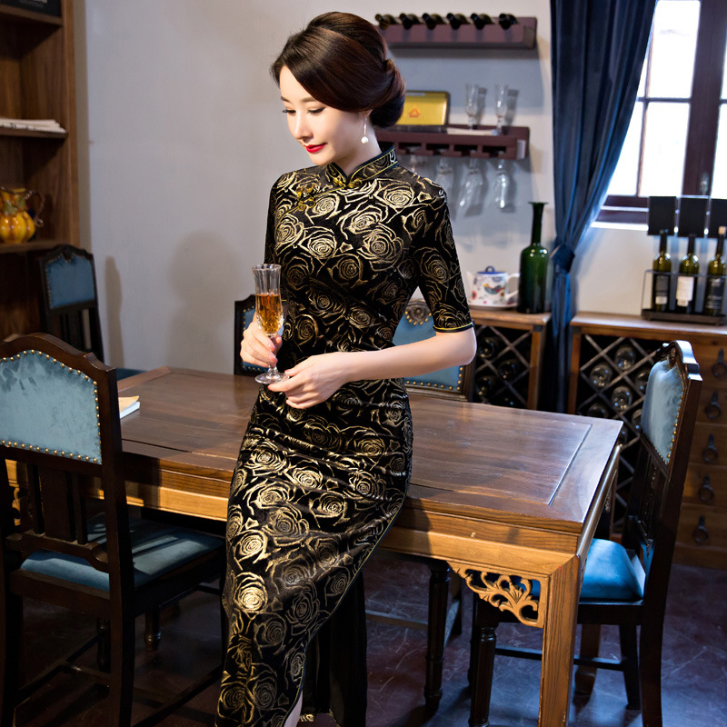 Black-Red Traditional Chinese Dress Women\`s Satin Long Cheongsam Qipao Flower Short Sleeve Chinese Oriental Dresses Size M-4XL (6)