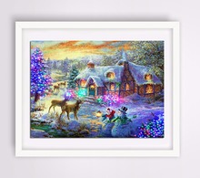 5D Diy Diamond Painting New Year Cross Stitch Full Diamond Embroidery Mosaic Landscape Winter Scenery Pattern Christmas(China)