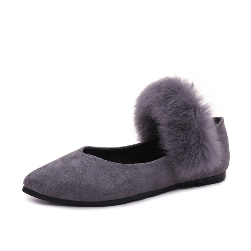 2016 New Winter Women Flats Shoes Rabbit Fur Shoes Woman Fashion Thickening Warm Flats Shoes Casual Womens Round Toe Shoes<br><br>Aliexpress