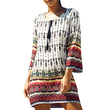 Bohemian Vintage Ethnic Style Women Autumn Summer Dress Geometric Printed O-Neck 3/4 Sleeve Mini Straight Shift Dresses Vestidos