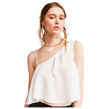 MAKE Hot HAODUOYI Women's Fashion Asymmetrical Sleeveless One Shoulder Female Chiffon Top Sweet Solid Ruffles Strap Blouses(China)