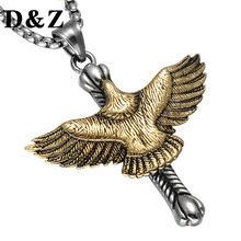 D&Z Classic Casting Titanium Flying Eagle Cross Pendant & Necklace Stainless Steel Biker Hawk Necklace for Men Jewelry(China)