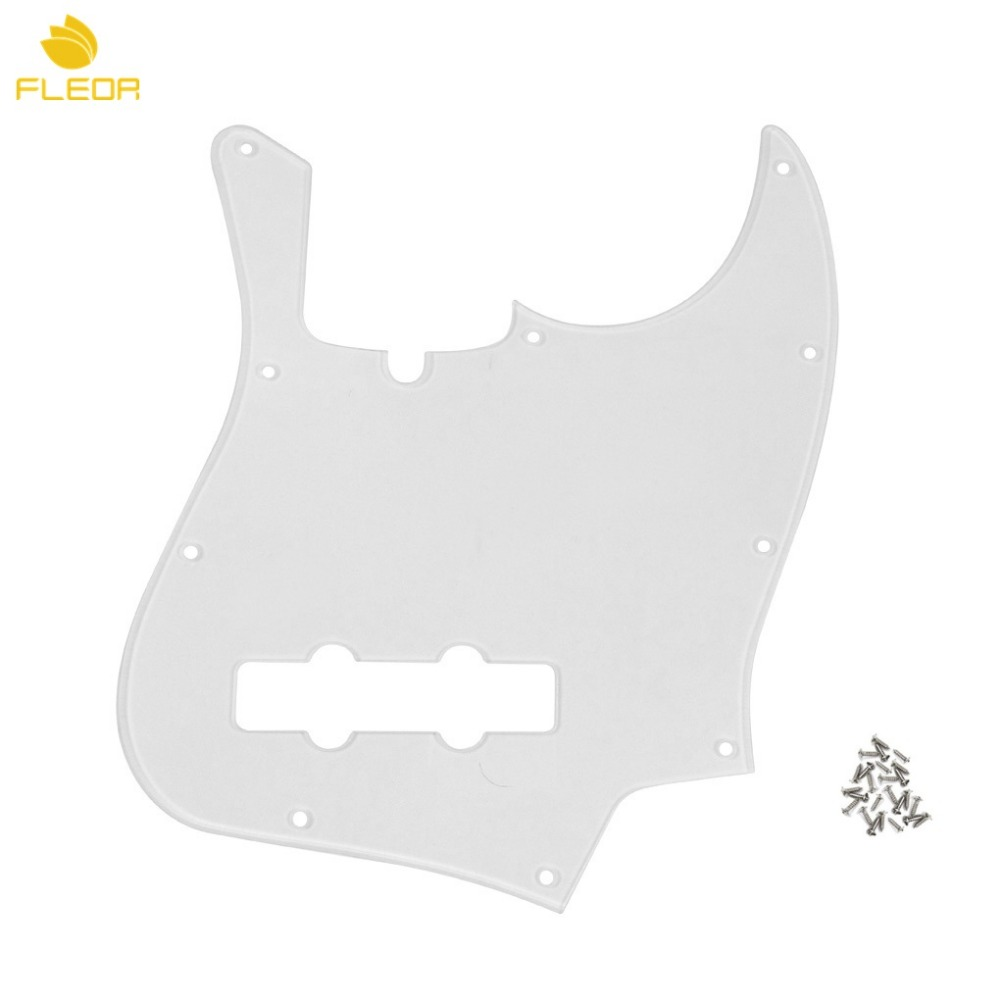 FLEOR 1Ply Transparent 4 String J B Bass Guitar Pickguard 10 Holes with Truss Rod Notch & Screws for US Standard Style(China (Mainland))
