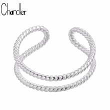 Chandler 925 Sterling Silver Double Line Ring For Women Simple Geometric Open Thumb Midi Mid Fashion Punk Jewelry Anillos Mujer