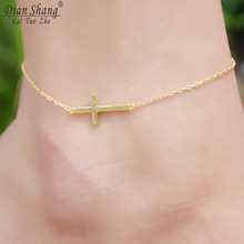 DIANSHANGKAITUOZHE Celebrity Style Sideways Cross Anklet 2017 Stainless Steel Gold Chain Leg Bracelet Women Men Jewelry Beach