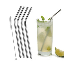 4 Pcs Bent Drinking Stainless Steel Straws For Yeti 20oz Tumbler With 1 Pc Cleaning Cleaner Brush(China)