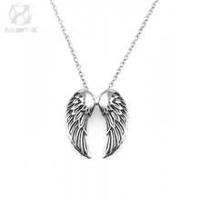 LES BIJOUX AgentX Cool Punk Men Gents Stainless Steel Angel Wing Pattern Craft Chain Necklace Pendant Jewelry Gift Bag/ AAP173