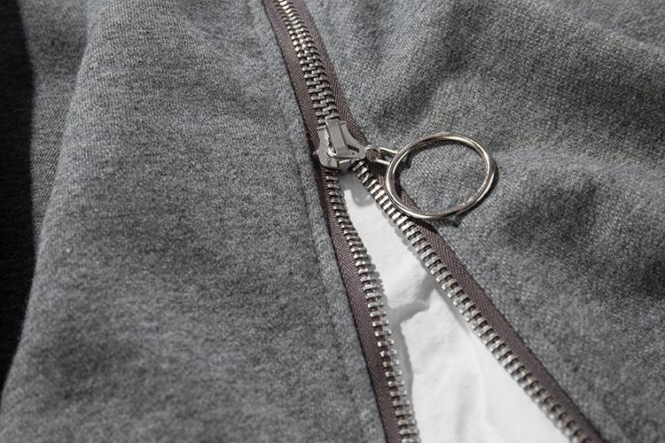 Front Long Zipper Back Ribbon Hoodies 7