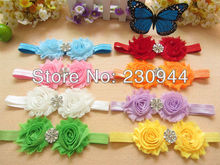 FREE EMS 9colors 200pcs/lot   hair acessories 2.5inch Shabby Chiffon Flower + Snapback  Headbands with drill