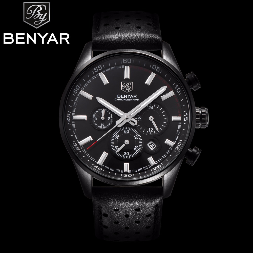 2017 NEW Arrive Mens Watches Top Brand Luxury BENYAR Sport Watch Men Leather Strap Chronograph Waterproof Quartz Wristwatches<br>